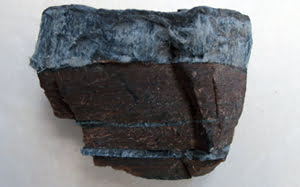 Crocidolite (blue) asbestos in its natural rock form